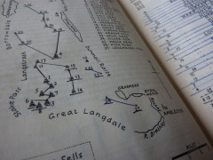 An annotated copy of Wainwright's Central Fells, with lines connecting fells together to denote ridge walks