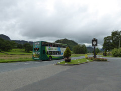 The 555 bus stood outside the pub at Thirlspot