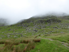 Red Screes hidden by cloud.