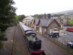 An old steam train at the former Hawes railway station