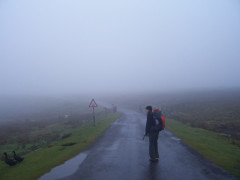 Standing in the gloom on the Pennine Way near the Tan Hill Inn
