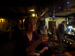Supping a pint at the bar of the Tan Hill Inn
