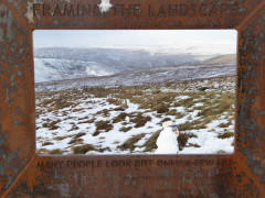 A metal 'frame' on the Pennine Way, through which you view the landscape