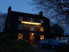 The Diggle Hotel, in Diggle, seen in the dark