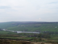 Looking down on Ponden Reservoir