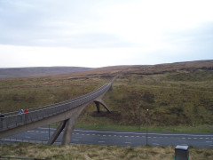 The Pennine Way footbridge over the M62 motorway