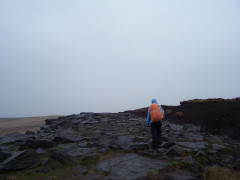 In waterproofs on Standedge Ridge