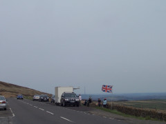 Snoopy's Snack Van on the road, and the Pennine Way as it crosses the road