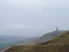 Stoodley Pike, seen from a distance from the Pennine Way
