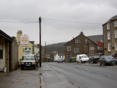 Main street in Alston with an ICI Petrol station