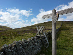 Signpost at Black Hag, on the border between England and Scotland