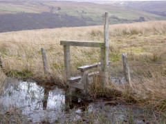 Extremely muddy stile on Lambley Common