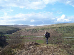 Checking the map near Woodhead reservoir