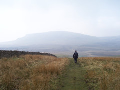 Approaching Pen-y-ghent on the Pennine Way