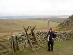 The ladder stile at Rapishaw Gap, where the Pennine Way leaves Hadrian's Wall