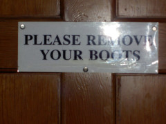 Sign saying 'Please Remove Your Boots' in Dufton YHA