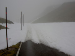 Snow covered road on Great Dun Fell