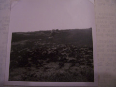 A 1971 photograph of someone leaping over bogs on the Pennine Way, found at Earby YHA