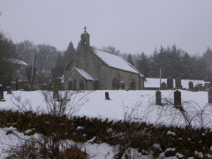 The Church of St Francis in Byrness, topped with snow