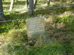 Mock tombstone at Murder Cleugh