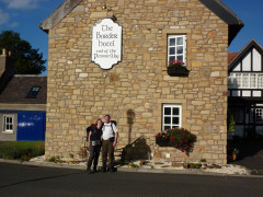 The two of us standing outside the Border Hotel in Kirk Yetholm