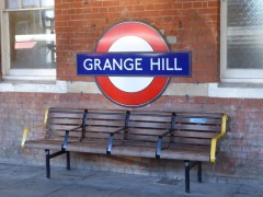 Grange Hill station sign on the station platform