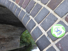 LOOP waymark sign attached to a Grand Union Canal bridge