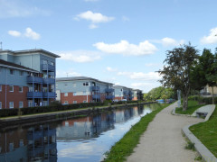 Flats on the side of the Grand Union Canal in Yiewsley
