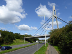 Stockley Park's large pedestrian bridge over a dual carriageway