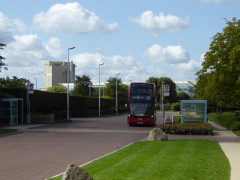 A bus drives through Stockley Park