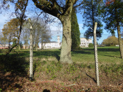 Bentley Priory, behind a chainlink fence