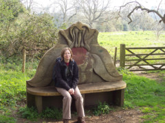 An elaborately carved bench on the North Downs Way