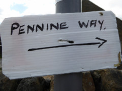 Handmade Pennine Way sign at Edale