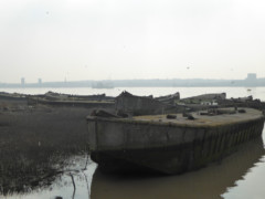 Concrete barges in the Thames