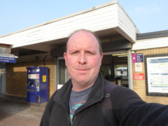 Posing outside Rainham railway station
