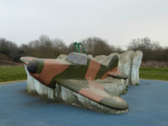 Spitfire model in a playground in Hornchurch Country Park