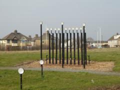 Pipe based art work at Ingrebourne Hill