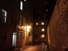 Narrow Oxford lane in the dark