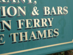 Sign near Bablockhythe, with a mention of ferry and a question mark scraweled next to it