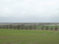 Flooding in the distance, seen at Duxford