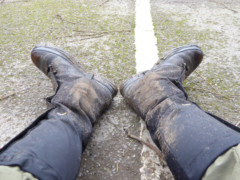 Slightly muddy looking boots