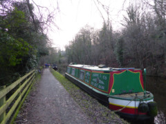 Canal boat moored on the Peak Forest Canal