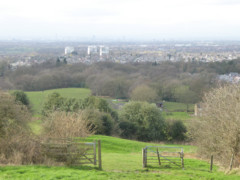 A gate on Werneth Low, with a view of Manchester and its suburbs in the background