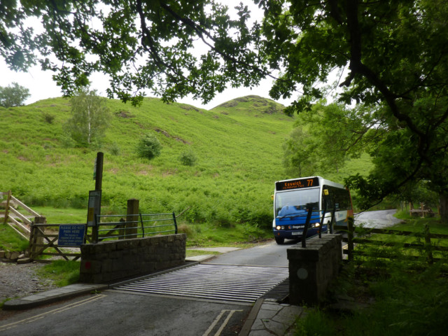 Stagecoach Cumbria minibus at the foot at Catbells