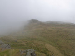 A cloud filled view from the top of Angletarn Pikes