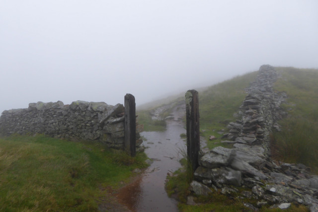Waterlogged gatepost in a wall near Rest Dodd in the Lake District