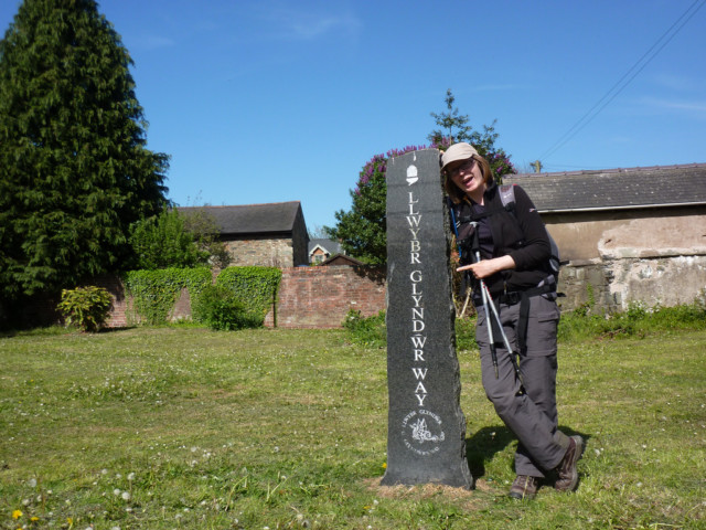 Stone marking the end of the At the end of the Glyndŵr's Way