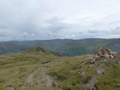 A cairn on the path between Hart Crag and Hartsop above How