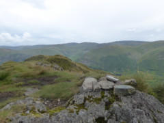 A pile of stones representing the summit of Hartsop above How