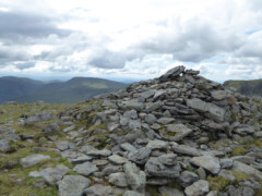 The cairn that marks the summit of St Sunday Crag